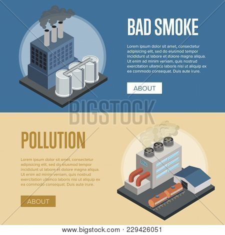 Heavy Industry Air Pollution Isometric Flyers. Chemical Factory Or Power Plant With Smoke Stacks. Na