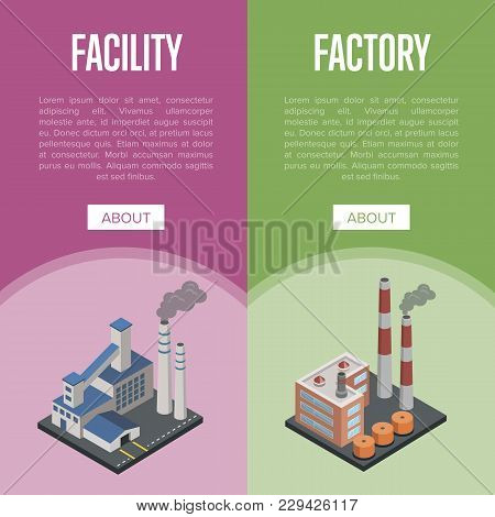 Pollution Industry Isometric Vertical Flyers With Chemical Factory Or Power Plant With Smoke Stacks.
