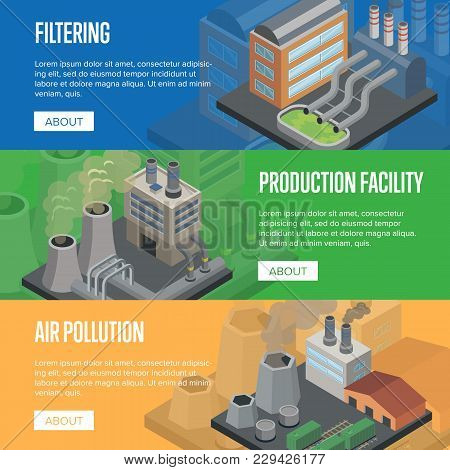 Heavy Industry Air Pollution Flyers. Chemical Factory Or Production Facility With Smoke Stacks And F