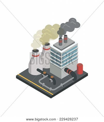 Industrial Building Factory Isometric 3d Element. Heavy Industry Architecture, Engineering And Manuf