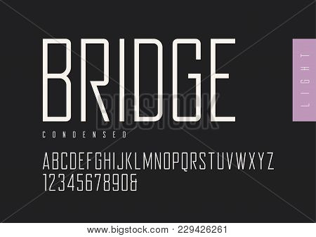 Condensed Light Retro Sans Serif. Vector Typefaces, Uppercase Alphabet With Letters And Numbers, Fon