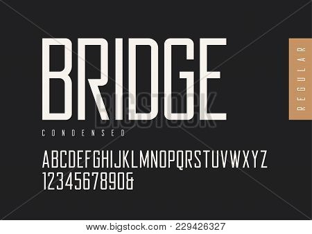 Condensed Regular Retro Sans Serif. Vector Typefaces, Uppercase Alphabet With Letters And Numbers, F