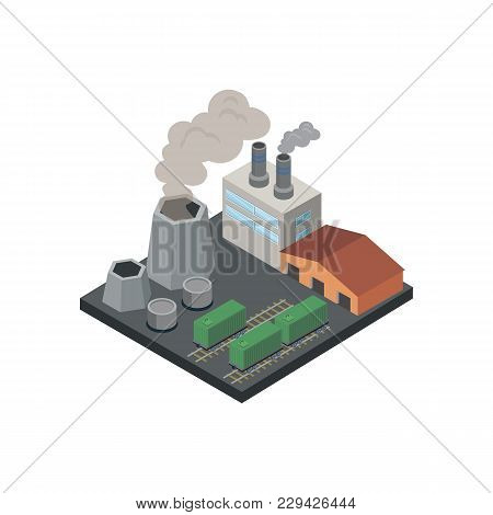 Industrial Factory With Pipes Isometric 3d Element. Heavy Industry Architecture, Engineering And Man