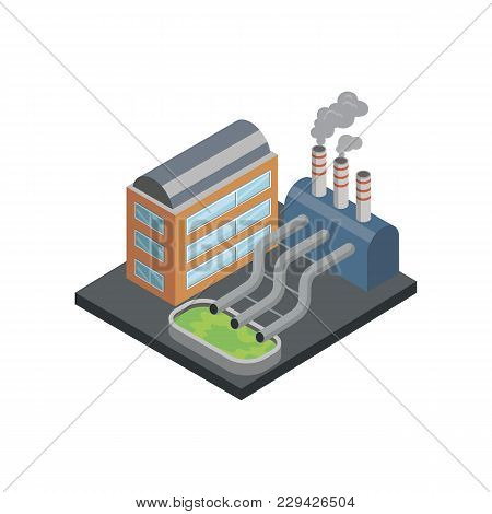 Chemical Plant Isometric 3d Element. Heavy Industry Architecture, Engineering And Manufacturing, Env