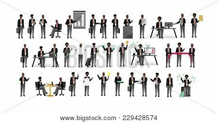 African Business People Isolated Big Set. Corporate Partnership And Teamwork, Professional Business