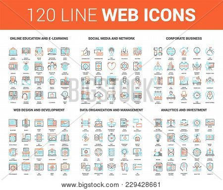 Vector Set Of 120 Flat Line Web Icons On Following Themes - Online Education, Social Media And Netwo