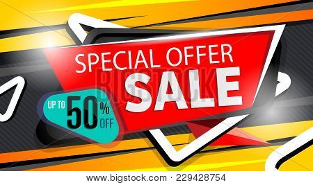 Special Offer Banner In Trendy Style. Supermarket Sale Proposition, Up To 50 Off Message. Retail Mar