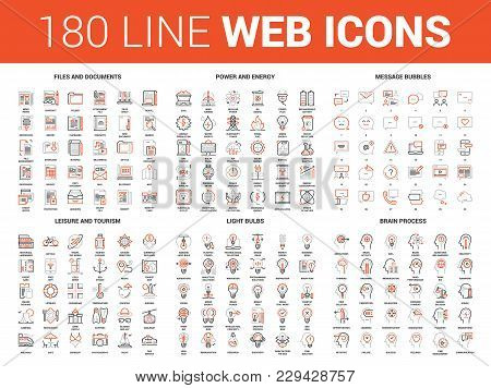 Vector Set Of 180 Flat Line Web Icons On Following Themes - Files And Documents, Power And Energy, M
