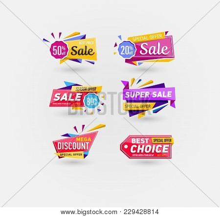 Supermarket Sale Stickers In Trendy Style. Season Offer, Best Choice, Mega Discount, Super Sale Labe