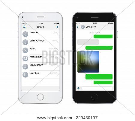 Two Chat Screens Templates, Contacts Page Mockup And Text Bubbles Messeges, And Sended Media File. V