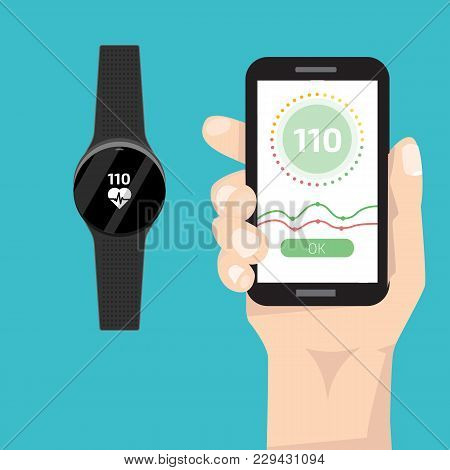 Fitness Run Tracker Band Connect With Smartphone. Sport Bracelet Or  Wristband. Vector Illustration.