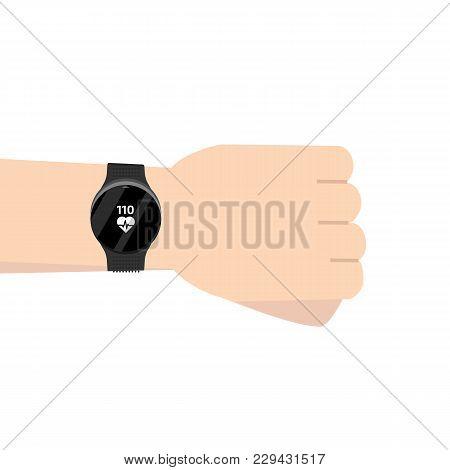 Fitness Run Tracker Band On Hand. Sport Bracelet Or  Wristband. Vector Illustration.