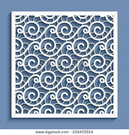 Decorative Panel With Wavy Lace Pattern, Ornamental Square Template For Cutting Out, Cutout Paper De