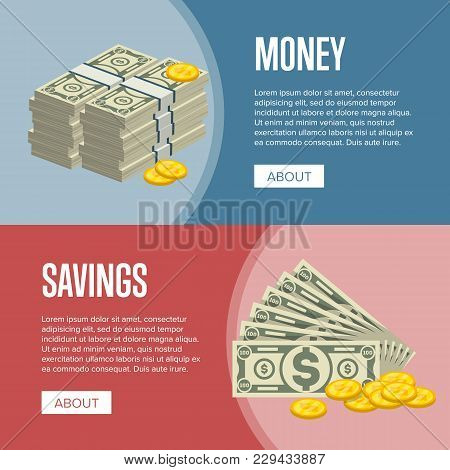 Making Money And Savings Flyers With Paper Banknotes And Golden Coins In Cartoon Style. Financial Sa