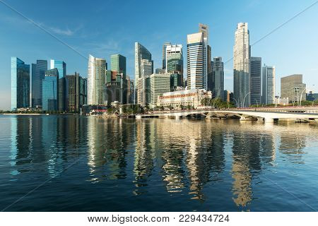 Singapore Business District Skyline And Skyscraper In Morning At Marina Bay, Singapore.