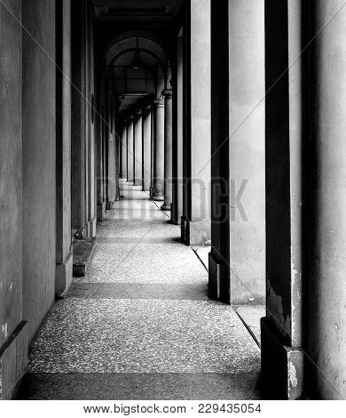 Portico, Sheltered Walkway, In Bologna With Its Almost 40 Kilometres Of Porticos. Bologna Is A Uniqu