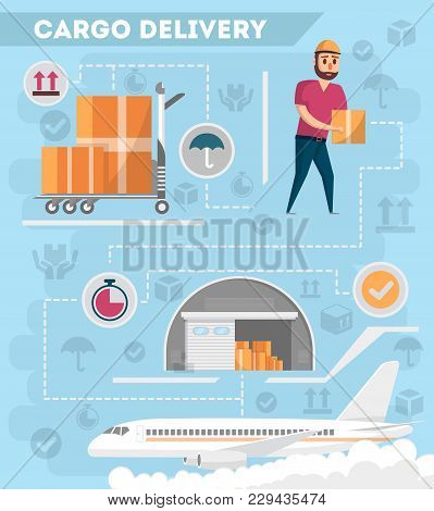Worldwide Air Delivery Service Poster. Commercial Airline Advertising, World Goods Shipping, Freight