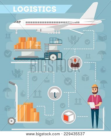 Logistics Of Commercial Freight Airline. Worldwide Goods Shipping, Freight Transportation, Cargo Air