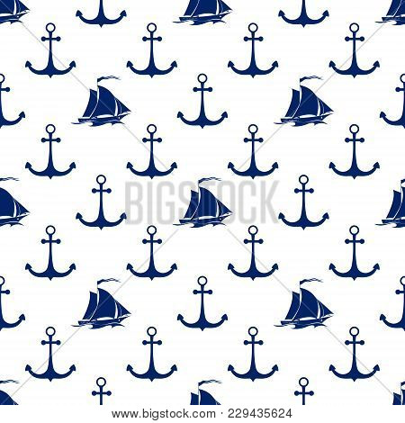 Seamless Maritime Pattern ,blue Sailing Vessel And Anchor On A White Background, Travel And Tourism