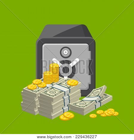 Metallic Safe Box With Big Pile Of Paper Banknotes And Golden Coins Near. Bank Deposit Box With Clos