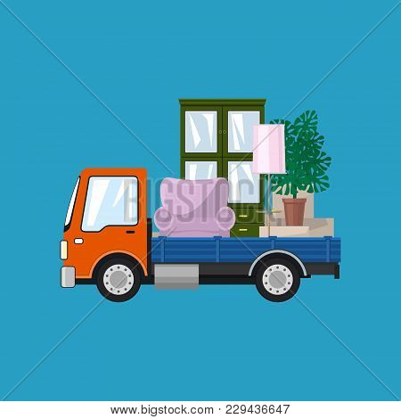 Freight Car Is Transporting Furniture, Isolated On A Blue Background, Transportation And Cargo Deliv