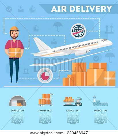 World Air Delivery Service Poster. Commercial Airline Advertising, Worldwide Goods Shipping, Freight