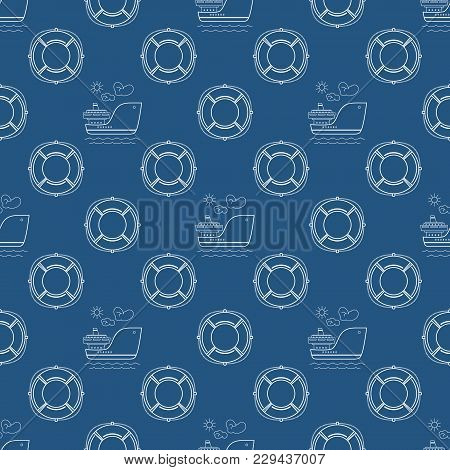 Seamless Travel Pattern With Ship And Lifebuoy, Maritime Tourism Concept , Line Style Design, Vector