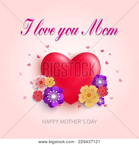 Mother's Day Greeting Card With Beautiful Blossom Flowers