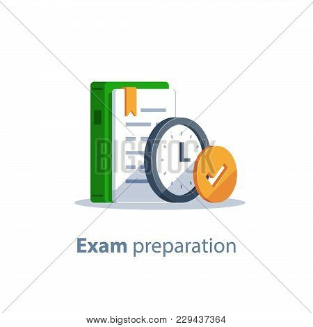 Exam Preparation, Subject Learning Course, Education Concept, Grammar Book, Assignment Deadline Cloc