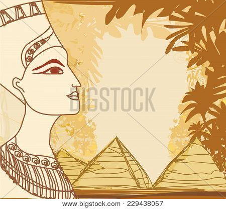 Portrait Of The Egyptian Queen , Vector Illustration