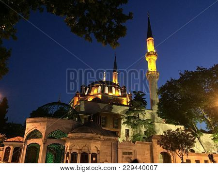 Eyup Sultan Mosque At Night. Eyup Sultan Mosque In Istanbul, Turkey. Historical Ottoman Mosque In Is
