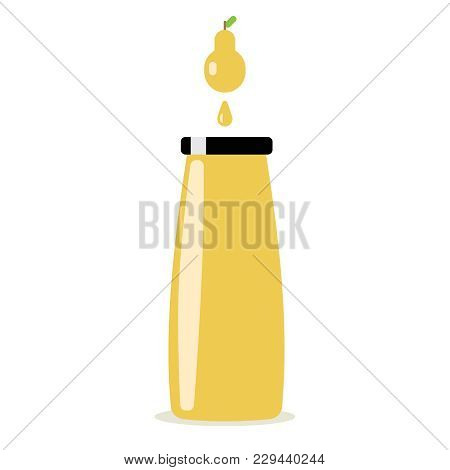 Bottle Of Pear Juice And Ripe Pear. Isolated On White Background. Illastration Eps10 Flat Vector Ico