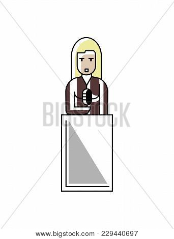 Blonde Businesswoman Speech On Tribune. Corporate Business People Isolated Illustration In Linear St