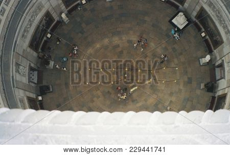 United States Capitol Building, Aerial Elevated View Above  And Looking Down At The Rotunda Interior