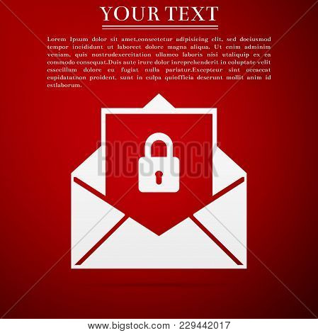 Secure Mail Icon Isolated On Red Background. Mailing Envelope Locked With Padlock. Flat Design. Vect