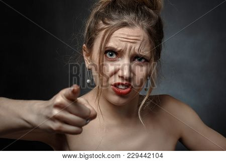 Angry Beautiful Woman Point At Camera Screaming