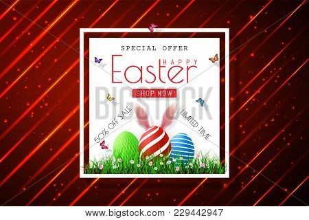 Happy Easter Sale Banners With Realistic Easter Rabbir`s Ears, Vector.