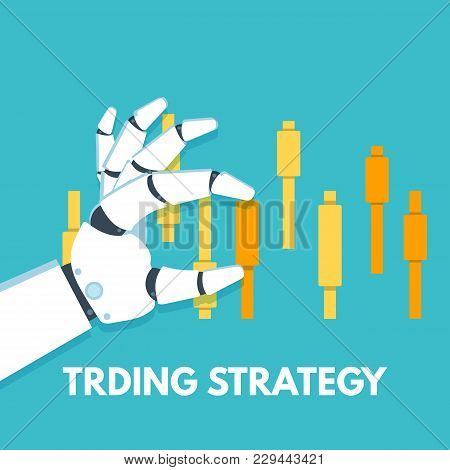 3190078 Robot's Hand Touch Upon Green Candlestick Chart. Vector Illustration.