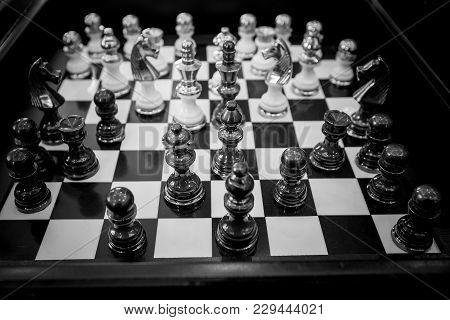 Chess Board Game, Business Concept Against The Background.