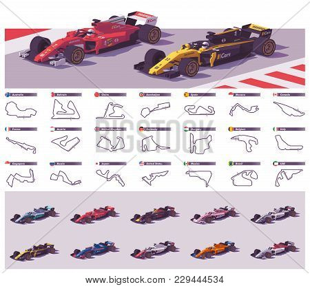 Vector Motor Racing Tracks Collection And Set Of The Open Wheel Racing Cars