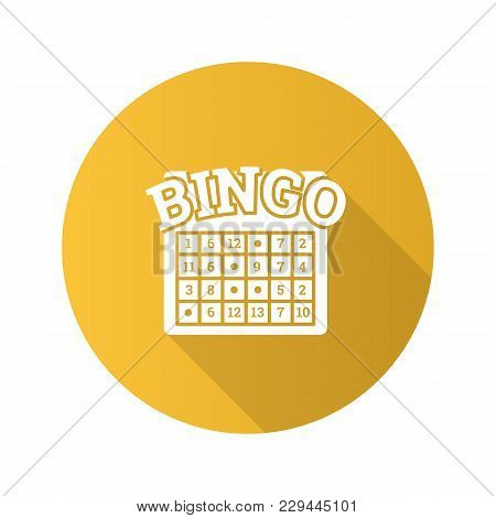 Bingo Game Flat Design Long Shadow Glyph Icon. Lottery. Casino. Vector Silhouette Illustration