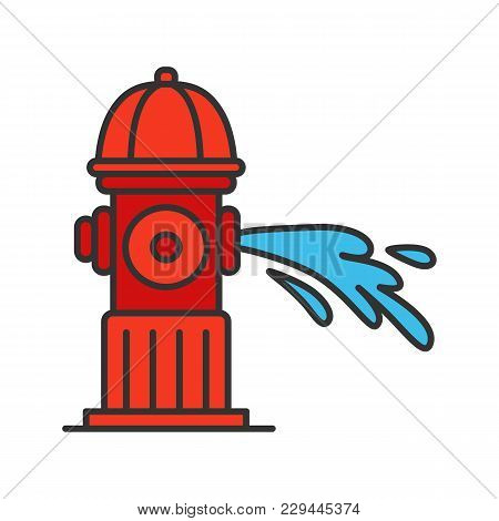 Fire Hydrant Gushing Water Color Icon. Fireplug. Isolated Vector Illustration