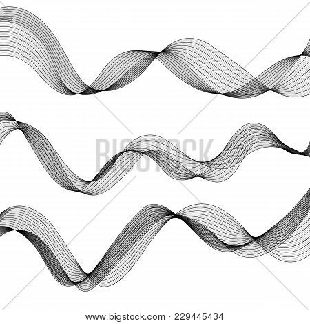 Set Of Monochrome Abstract Isolated Transparent Wave Lines For White Background. Kit Of Grayscale Sm