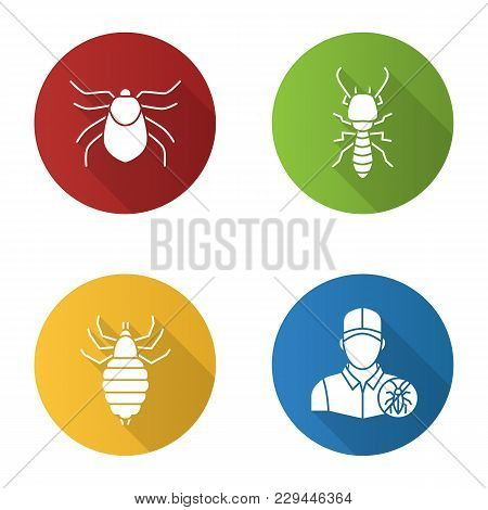 Pest Control Flat Design Long Shadow Glyph Icons Set. Mite, Termite, Louse, Exterminator. Vector Sil