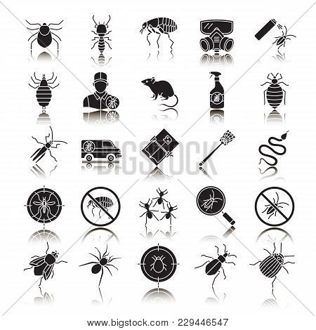 Pest Control Drop Shadow Black Glyph Icons Set. Extermination. Harmful Animals And Insects. Isolated