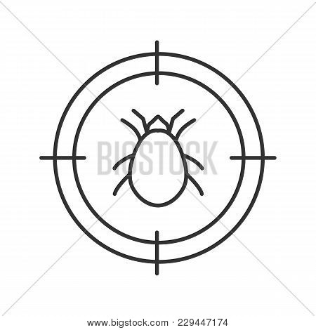 Mite Target Linear Icon. Parasitic Insects Repellent. Thin Line Illustration. Contour Symbol. Vector