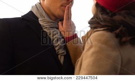 Woman Playfully Shuts Up Her Boyfriend Mouth, Moment Before Kiss, Romantic Date, Stock Footage