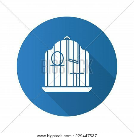 Birdcage Flat Design Long Shadow Glyph Icon. Parrot Cage. Vector Silhouette Illustration