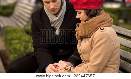 Young Husband Supporting His Beloved Wife, Health And Psychological Problems, Stock Footage