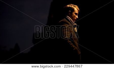 Man Waiting For Girlfriend, Standing Alone, Difficulties In Relations, Break-up, Stock Footage